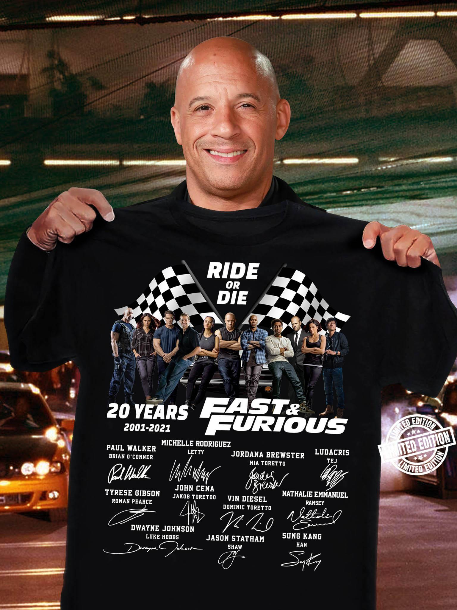 Ride Or Die 20 Years Fast And Furious 2001 2021 Shirt